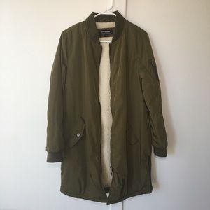 Jackets & Blazers - Olive green longline bomber jacket Large